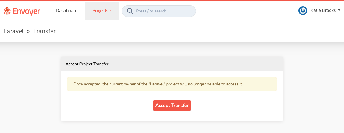 Accepting a project transfer request