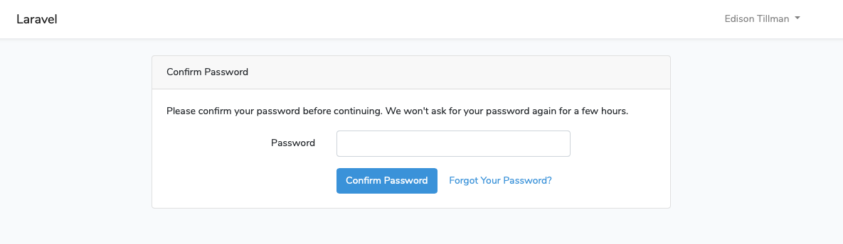 The new password confirmation screen