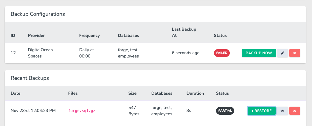 """A failed configuration, with a """"Partial"""" backup status."""